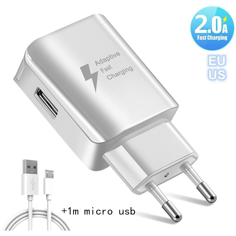 5V 2A Universal Fast USB Charger EU US UK Plug Travel Wall Mobile Phone Charger Adapter For Samsung Xiaomi Huawei LG Micro usb(China)