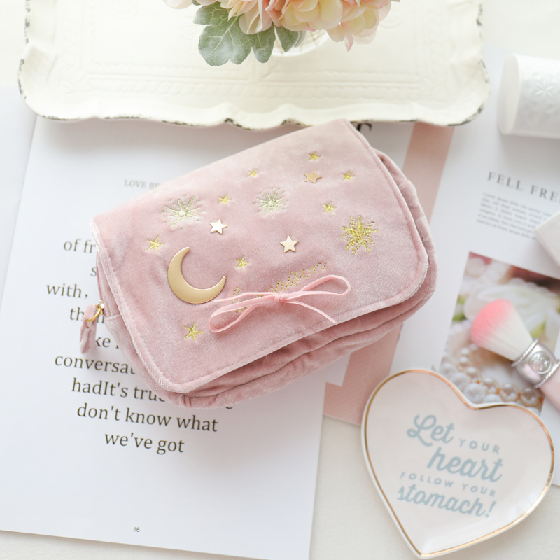 Cosmetic Bag Velvet Embroidered Moon And Stars Makeup Bag Small Tassel Bow Clutch Storage Bag For Women Make Up Bag