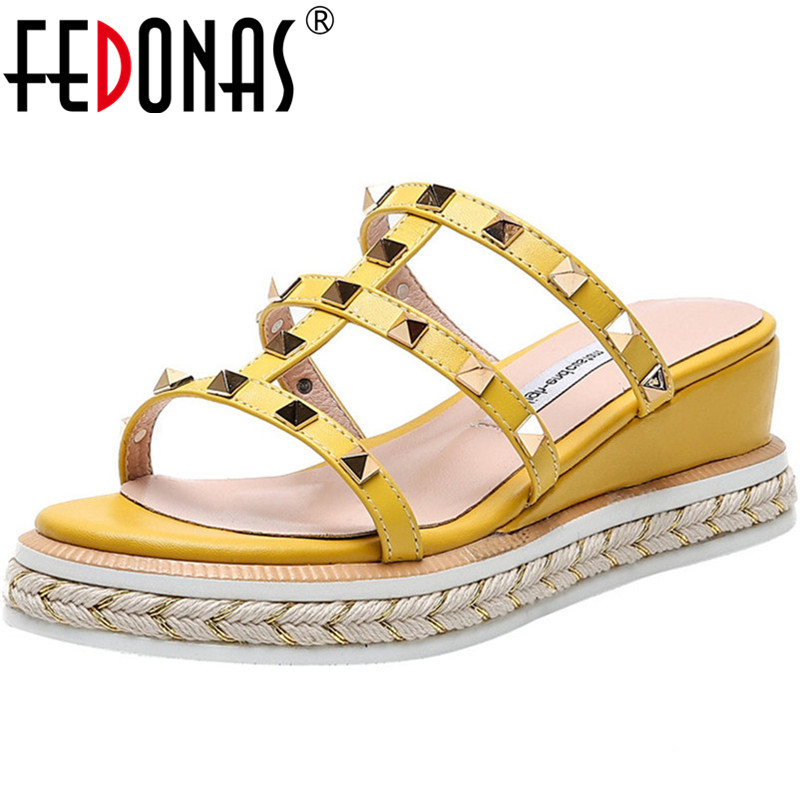 FEDONAS Retro Metal Rivets Summer Sandals HeelsHalf Slippers Party Wedding Shoes Woman High Quality Cow Leather 2020 Sandals