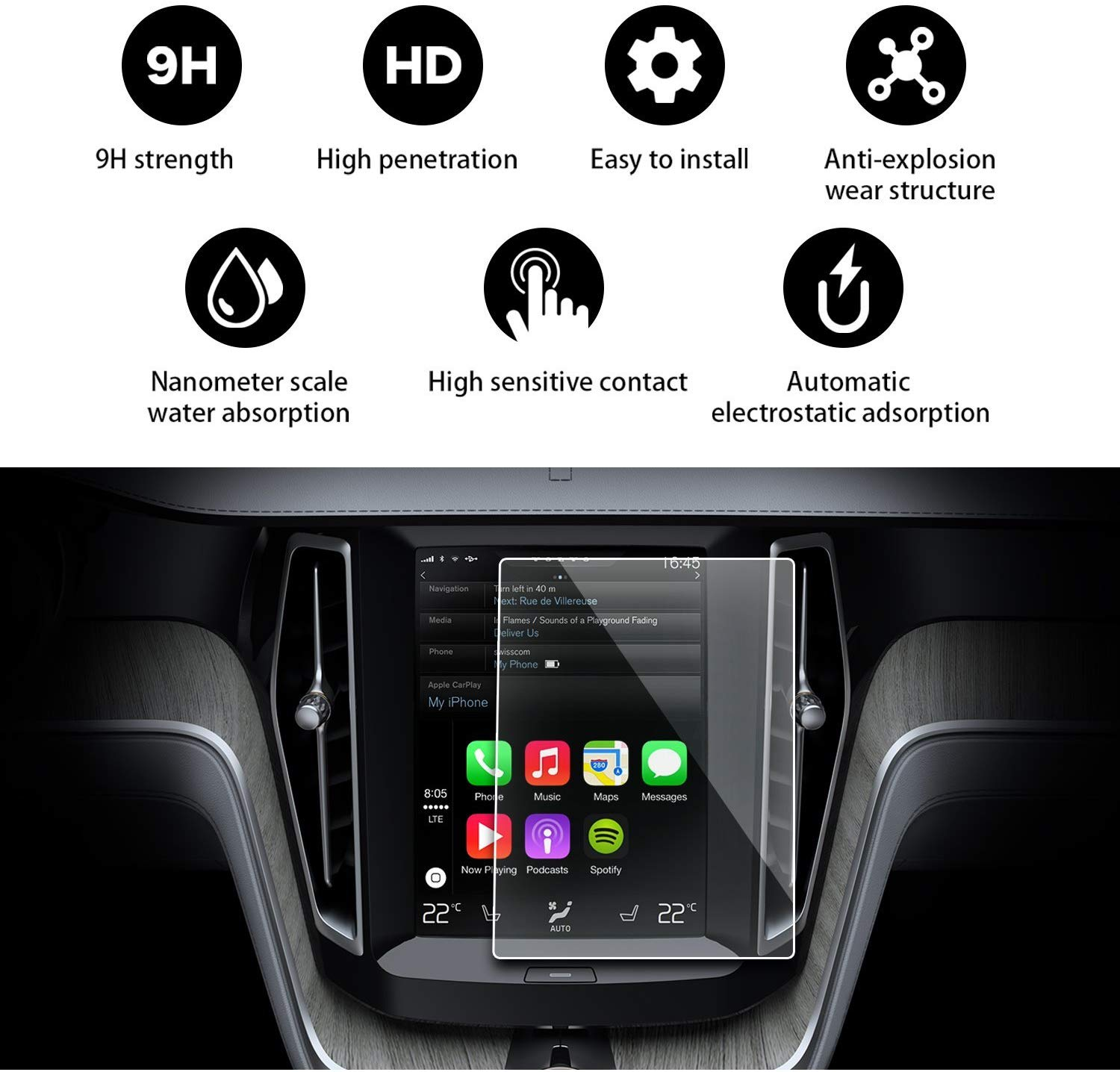 8.7 Inch for <font><b>Volvo</b></font> <font><b>XC60</b></font> Sensus <font><b>2018</b></font> <font><b>2019</b></font> Clear Tempered Glass Car Navigation Screen Protector LCD Touch Display Film Protector image