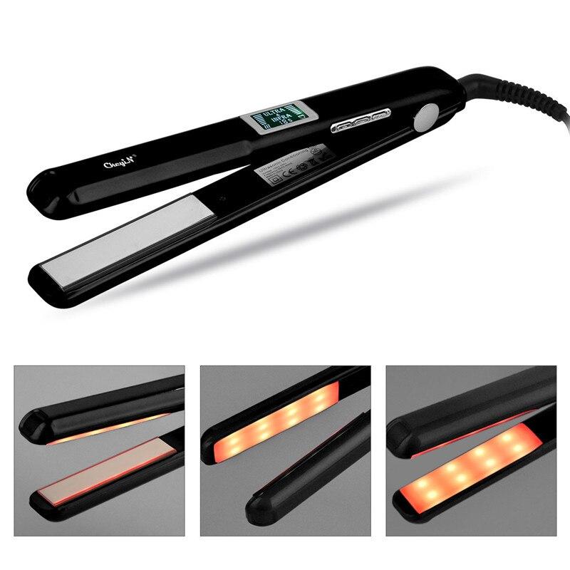 CkeyiN Hair Straightener Hair Repair LCD Ultrasonic Infrared Hair CareTool Steam Fast Heating Flat Straightening Iron Ceramics