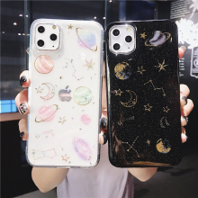 Glitter Planet Star Moon Space Phone Case For iPhone 11 Pro Max X XS XR 12 Mini 6 6S 7 8 Plus Transparent Soft Epoxy Back Cover