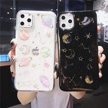 Glitter planeta estrela lua espaço caso telefone para iphone 11 pro max x xs xr 12 mini 6s 7 8 mais transparente macio epóxi capa traseira