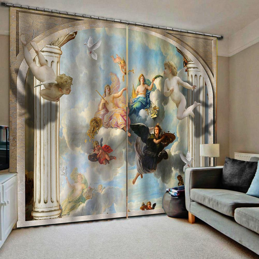 Photo Custom European 3D Curtains angel design Curtains For Living Room Bedroom europe curtains Home Drapes