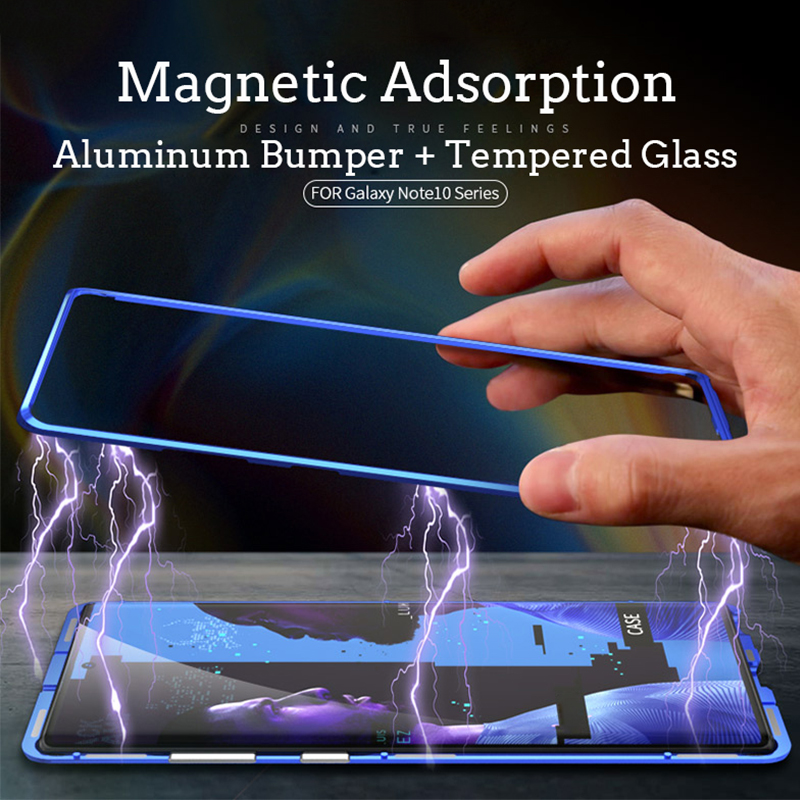 360 Full Magnetic Phone Case For Samsung Galaxy Note 10 Pro S10 5G S10 Plus A30 A40 A50 A70 Metal Bumper Glass S9 S8 A7 A8 Case in Phone Bumpers from Cellphones Telecommunications