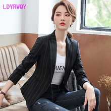 2019 autumn new Korean fashion temperament casual women's shirt striped small suit jacket