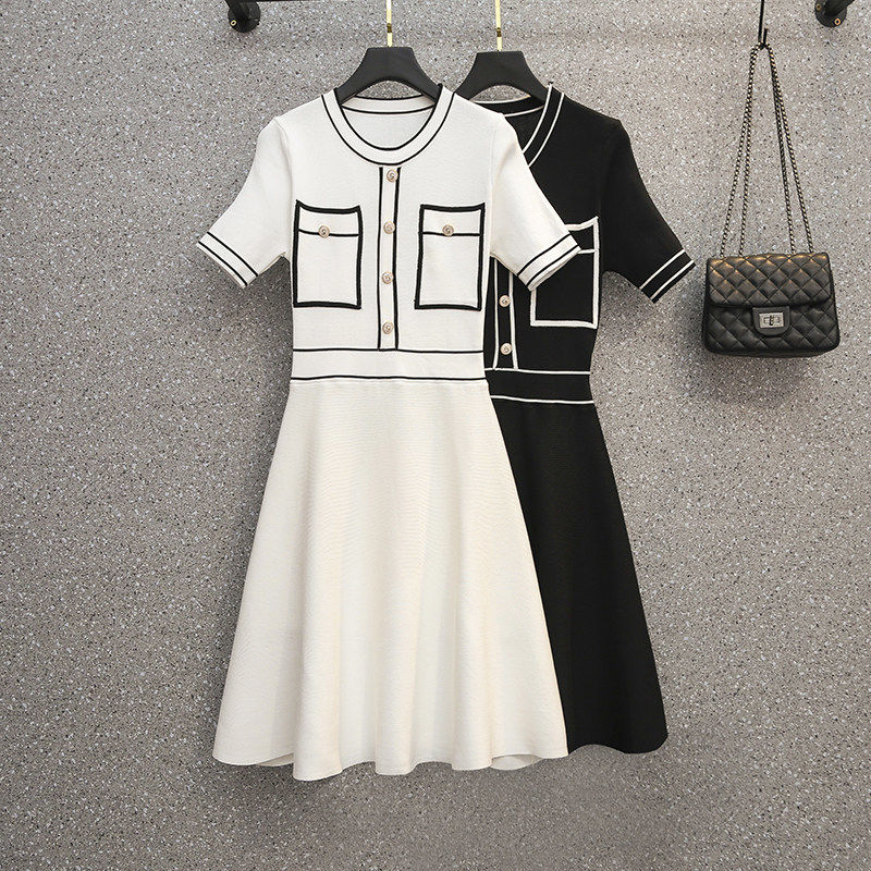 2021 Summer New Plus Size Women's Dress Small Fragrance Fashion Slimming Knitted Dress Women's Office One-piece Dress