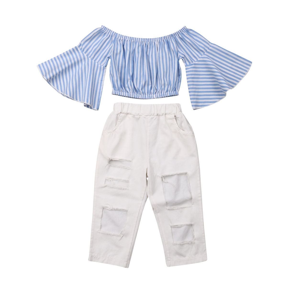 Two Piece Girls Off Shoulder Striped Flare T-shirt +Pants