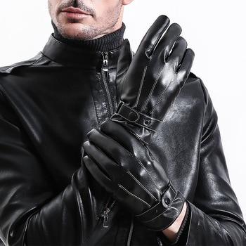 Men PU Leather Gloves Black Touch Screen Sheepskin Finger Gloves Wool Lining Winter Warm In Winter Driving Mittens handschoenen вертлюги c застежкой lucky john pro series rolling swivel fastlock 008 10шт ljp5101 008