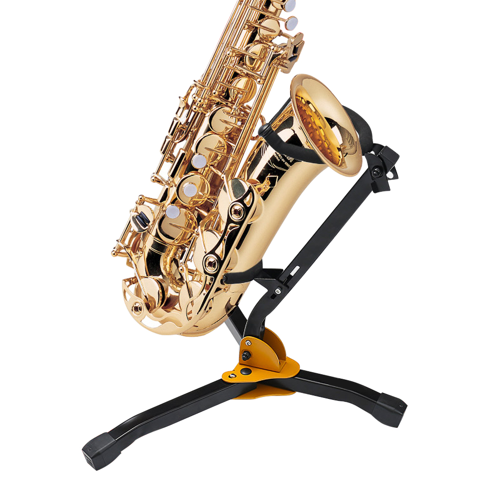 Tooyful Foldable Stainless Steel Tenor Saxophone Holder Stand Sax Support Black For Saxophonist Students