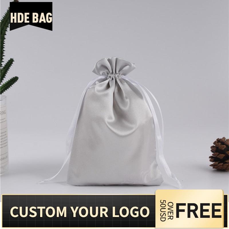 100pcs Custom Silk Satin Hair Bundels Wigs Drawstring Bag Cosmetics Shoes Bikini Clothes Storage Dustproof Packaging Bag