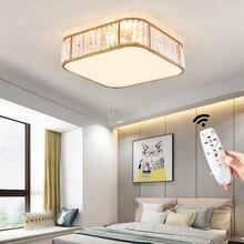 Square Crystal LED Ceiling Lights Lamp For Living Room Bedroom Home Fixtures 0Remote Dimming Modern Light Gold 110V 220V