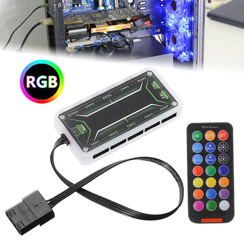 High Quality PC Cooler LED Control RGB RF Remote Console Computer Fan Case Controller Wireless 15m Distance DC 12V