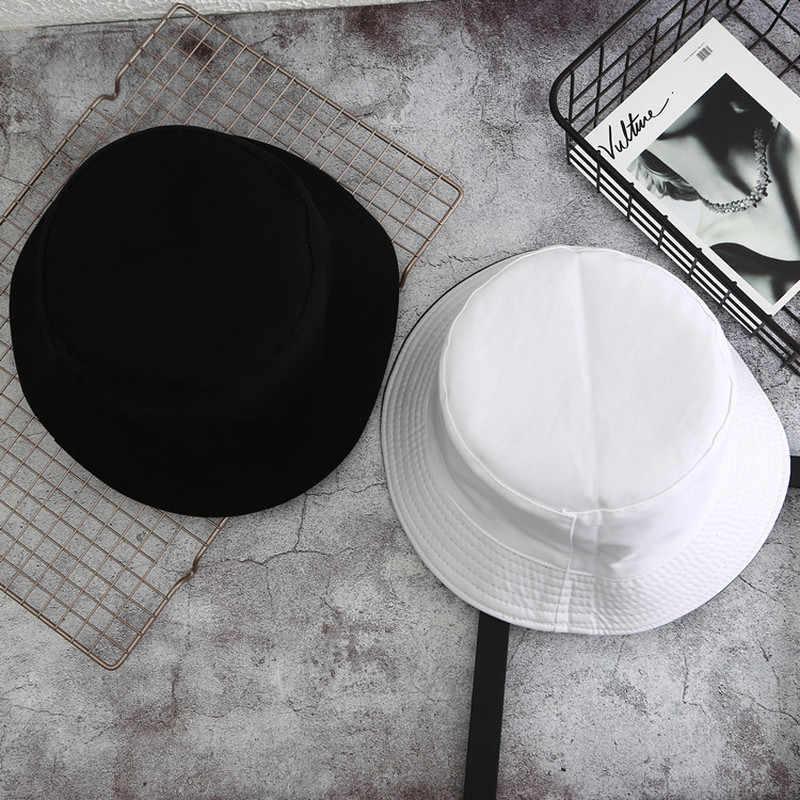 1PC דו צדדי לובש כובע מגן מוצק צבע דלי כובע גברים ונשים כותנה שטוח שמש כובע הפיך דייג כובע דלי כובע