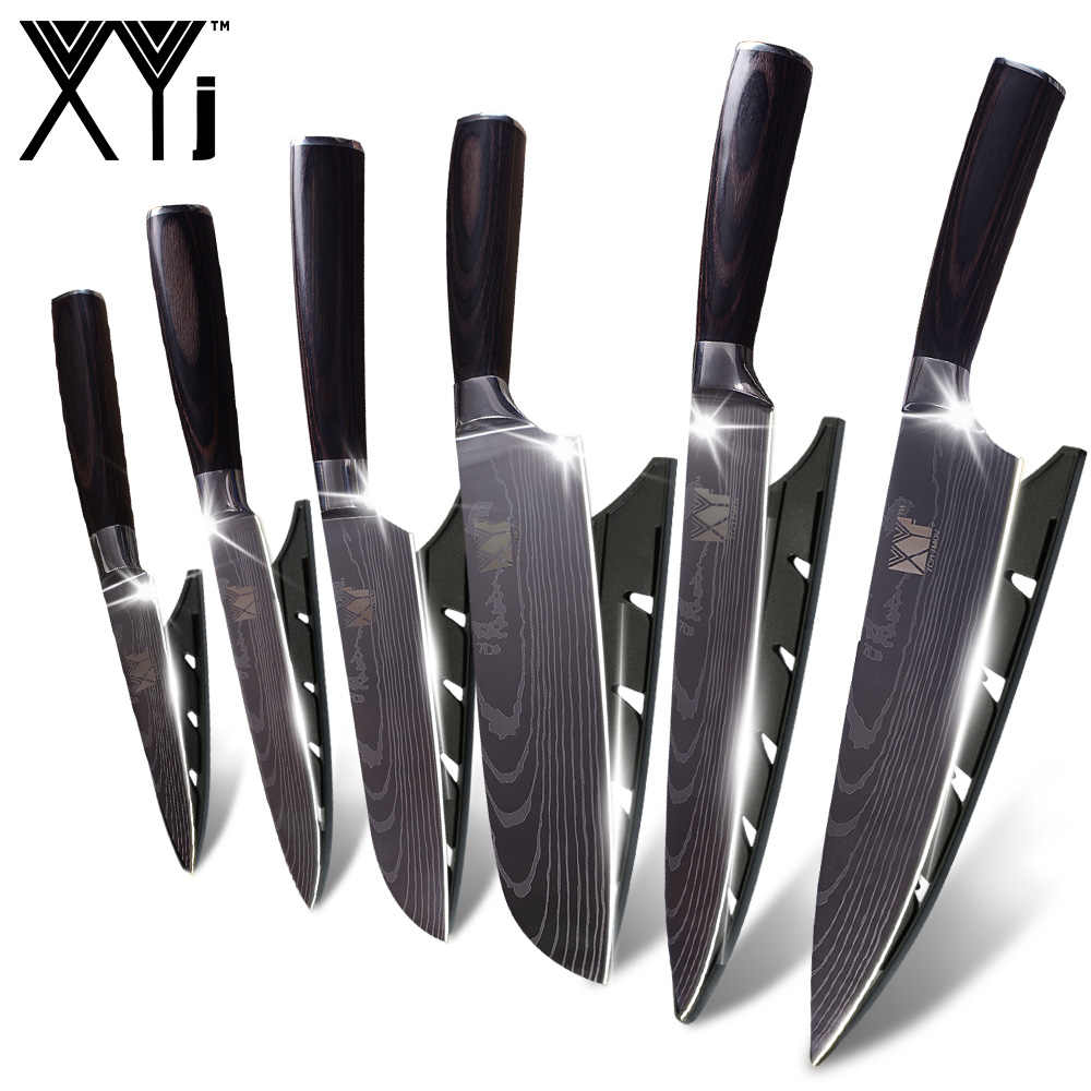 XYj Exquisite Stainless Steel Kitchen Knife Gift Color Wood Handle Damascus Veins Cooking Steel Knives Set Accessories Tools