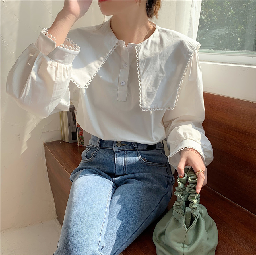 Hceb883e60b4a4a0a8d6f14d5a500f9eac - Spring / Autumn Puritan collar Long Sleeves Solid Blouse