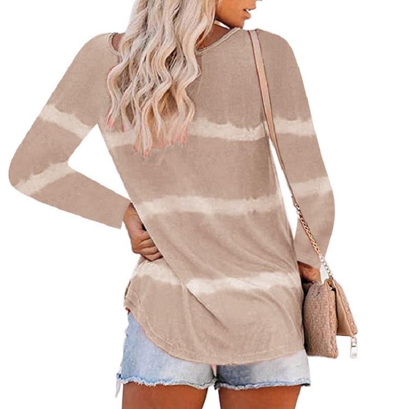 Женская футболка с длинным рукавом и круглым вырезом на пуговицах