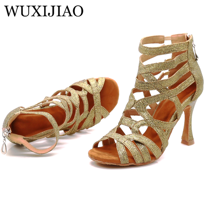 WUXIJIAO 2020 New Latin Dance Shoes Green Pink Gold Glitter Fabric Salsa Dance Shoes Women Ballroom Dance Boots Cuba Dance Shoes