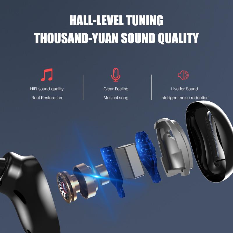 VOULAO-Cuffia-Senza-Fili-S11-TWS-Auricolari-Bluetooth-9D-Auricolari-Stereo-Con-1800mAh-Accumulatori-e-caricabatterie