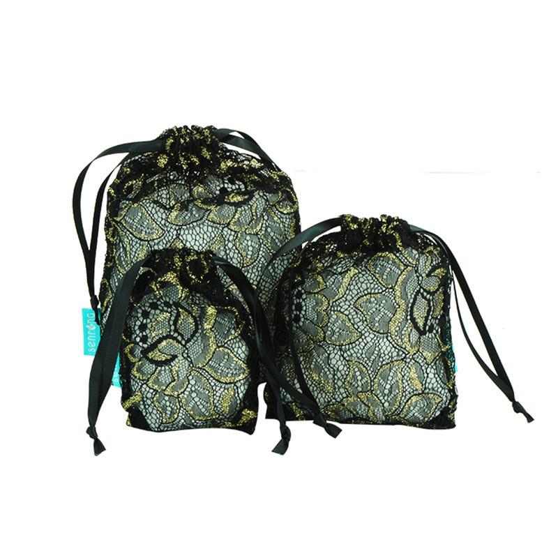 America Organza Drawstring New Style Black Lace Gold Lines Mesh Buggy Bag Drawstring Bag Manufacturers OEM