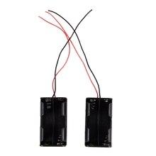 цена на 2 Pcs Dual Layers Black Plastic 4 x AA 6V Battery Holder Case Wired