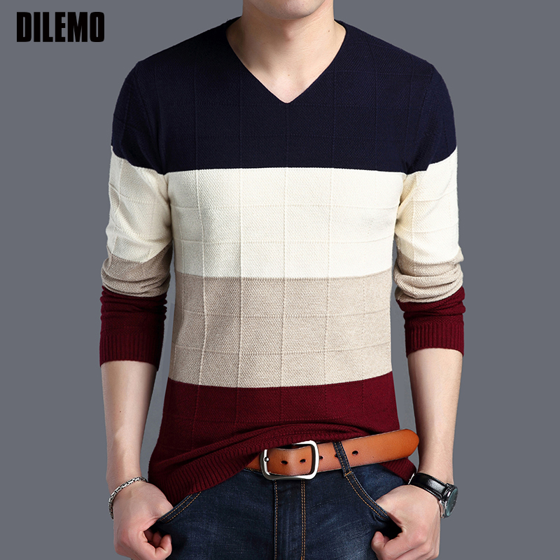 2019 Autumn New Fashion Brand Sweater Man Pullovers Striped Slim Fit Jumpers Knitwear Woolen Korean Style Casual Men Clothes
