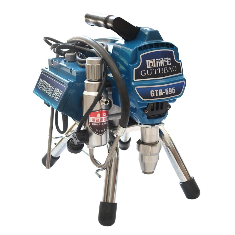 Machine de pulvérisation sans air professionnelle avec pistolet à moteur sans brosse 2600W 2.8L pulvérisateur de peinture sans air 595 machine-outil de peinture
