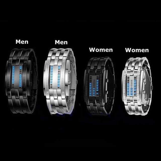 Future technologie binaire mode Couple montre hommes femmes créatif en acier inoxydable horloge LED Date Bracelet montre-Bracelet Sport Watche