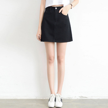 Lucyever Fashion Koreaanse zomer vrouwen denim rok hoge taille zwart mini rokken pakket hippe blue jeans harajuku plus size katoen
