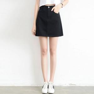 Image 1 - Lucyever Fashion Korean Spring Summer Women Denim Skirt High Waist Mini Skirts Jeans Plus Size Harajuku Cotton Girls Black Skirt