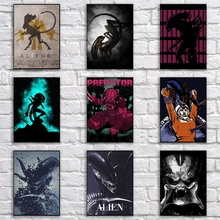 Vintage póster de alienígenas Retro documento Horror película cartel Arte pintura divertido elegante etiqueta de la pared para la casa de Café Bar