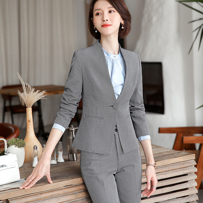 Lenshin High-quality 2 Piece Set Houndstooth Formal Pant Suit Blazer Office Lady Design Women Plaid Jacket and Full-Length Pant 23