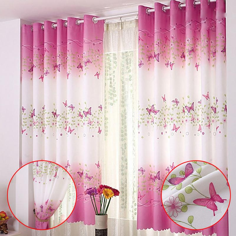 1pc Country Style Flower Butterfly Window Curtains for Living Room Curtains for Home Bedroom Butterfly Curtain for Girl Princess|Curtains| |  - title=