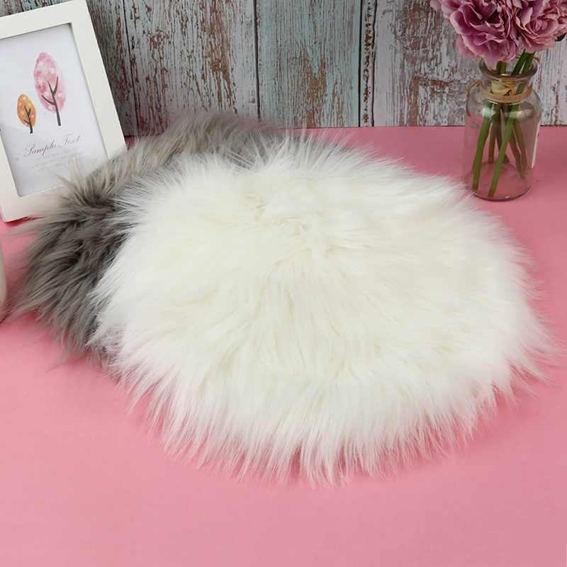 30*30CM Soft Small Artificial Wool Rug Chair Cover Bedroom Mat Acrylic Warm Hairy Carpet Seat Textil Rugs