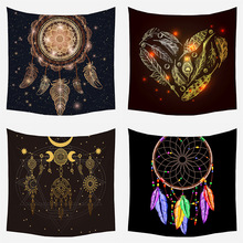 Dream Catcher Feather Tapestry Ins Wind Net Red Background Hanging Cloth Home Decoration Mandala Style Beach Towel