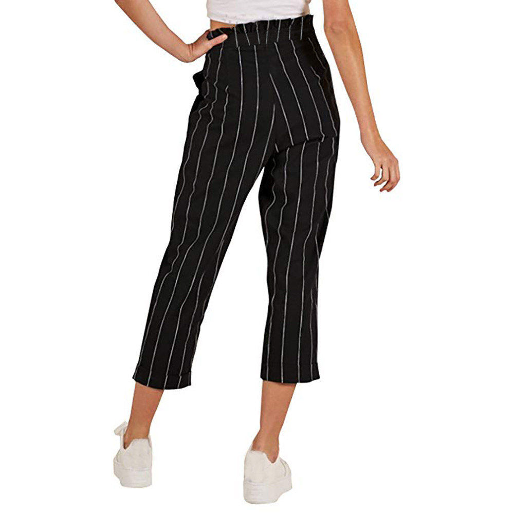 Solid Color Vertical Stripes Ladies Slim Loose Straight Leg Pants Pocket Casual Light Button Pants Cropped Trousers