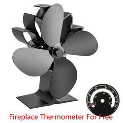 Nuevo ventilador de la estufa del hogar suministros de invierno aire caliente para el quemador de troncos de madera chimenea ventilador de 4 cuchillas silencioso Dropshipping