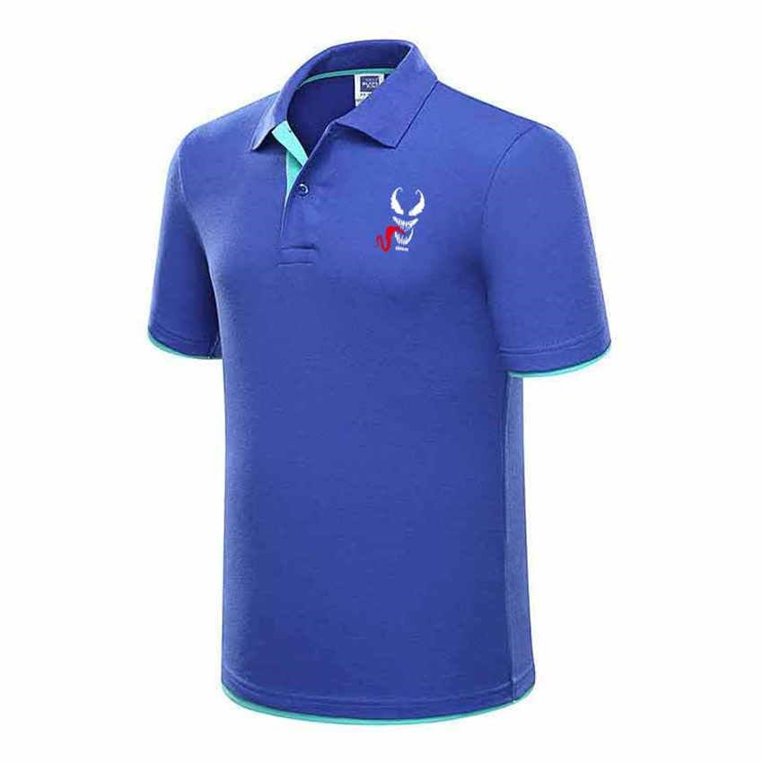 Superhero Venom Print Brand Men's Polo Shirt High Quality Men Cotton Short Sleeve shirt Brands jerseys Summer Mens polo Shirts