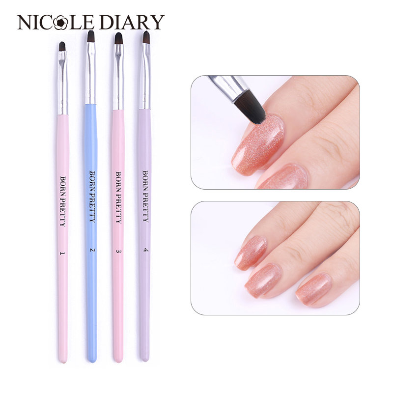 1 PC Nail Art Brush Wooden Handle Liner Painting Pen Soft Brushes Acrylic Dotting Flower Drawing Carving Pen  Nail Tool