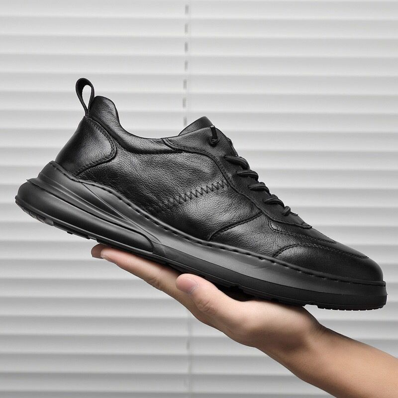 Men Leather Shoes Casual Fashion Soft Business Sports Shoes White Designer Sneakers New Laces Comfort Shoes Man Black Flat Shoes