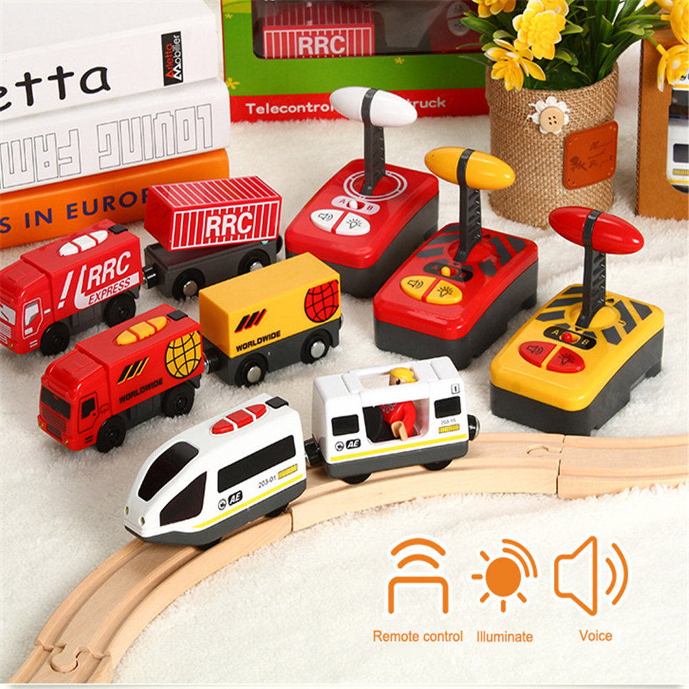 Mini RC Car Remote Control RC Electric Small Train Toys Set small trains toy Connected with Wooden Railway Track Interesting toy