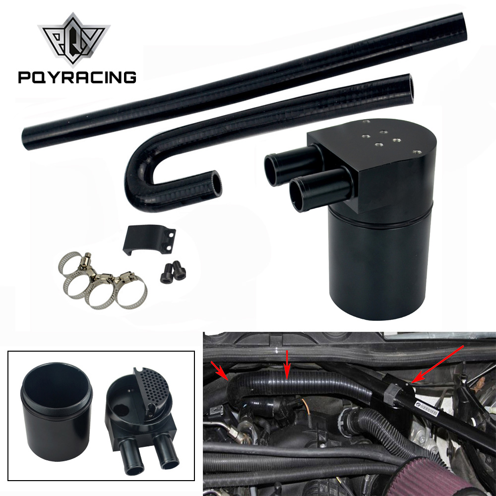 High Performance Black Aluminum Alloy Reservior Oil Catch Can Tank for <font><b>BMW</b></font> N54 335i <font><b>135i</b></font> E90 E92 <font><b>E82</b></font> 2006-2010 PQY-TK56 image