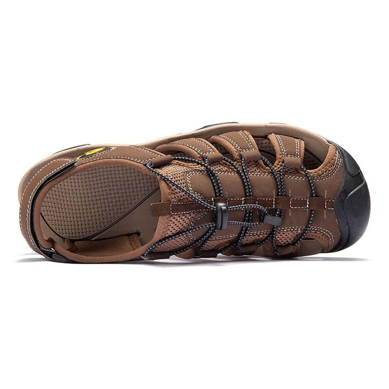 Image 4 - Fashion Men Beach Sandals size 39 46 Men Roman Style Sandals Summer Leather Shoes for Beach Outdoor Walking shoes maleMens Sandals   -