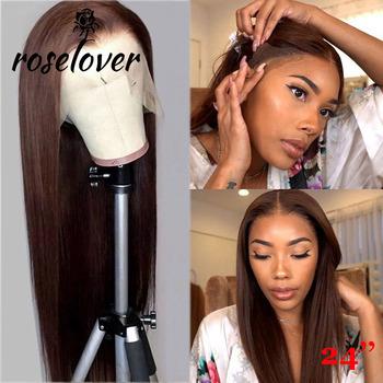 # 1b #2 #4 brązowy kolorowe ludzkich włosów peruki 150 pełna peruki typu Lace z ludzkich włosów dla kobiet koronkowa peruka z prostymi włosami brazylijski Remy włosy bielone węzłów tanie i dobre opinie ROSELOVER Długi Proste Pełne koronkowe peruki Ludzki włos Ręka wiążący Ciemniejszy kolor tylko Swiss koronki 1 sztuka tylko