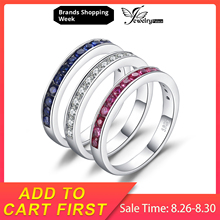 JewelryPalace Three Stack 1.8ct Round Created Ruby Sapphire Cubic Zirconia Band Eternity Ring Set 925 Sterling Silver For Women jewelrypalace elegant 2 43ct created alexandrite sapphire cubic zirconia halo adjustable bracelets for women 925 sterling silver