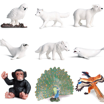 Simulation Animals Forest Wild Animal Model Peacock Dog Wolf Action Figure PVC Toy figurine Gift For Kids Educational Toys