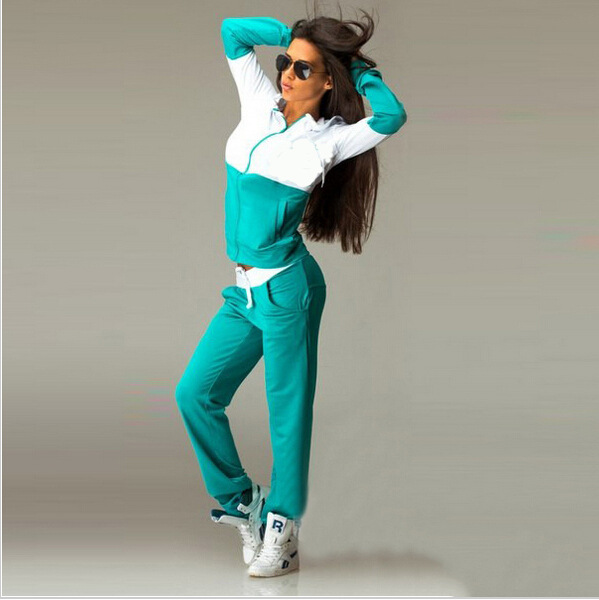 Patchwork Green White 2020 New Design Fashion Hot Sale Suit Set Women Tracksuit Two-piece Style Outfit Sweatshirt Sport Wear