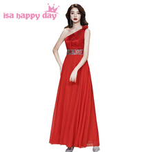 plus size bridesmaid red one shoulder sleeveless floor length chiffon d