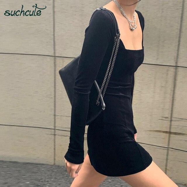 SUCHCUTE velvet women dress bodycon Modis soild Autumn Winter 2020 elegent split Femme Dresses party long sleeve gothic clothes