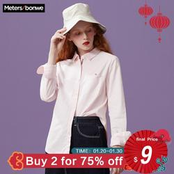 Metersbonwe Long-Sleeve Shirt Women'S New Sweet Casual Slim Clothing Solid color small fresh square collar college shirt